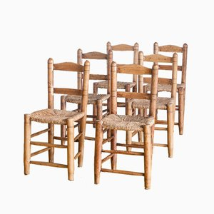 Spanish Handmade Wooden Chairs, 1940s, Set of 6