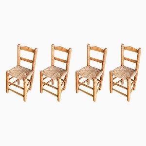 Handgefertgte spanische Holzstühle, 1940er, 4er Set