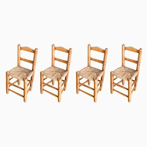 Spanish Handmade Wooden Chairs, 1940s, Set of 4