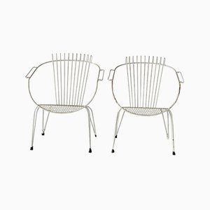 Mid-Century French Garden Chairs, Set of 2