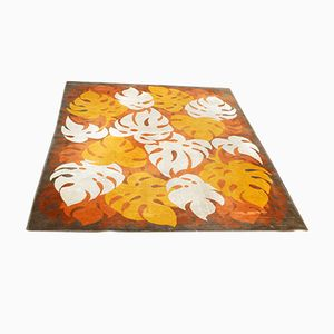 Italian Orange Floral Lounge Carpet, 1960s