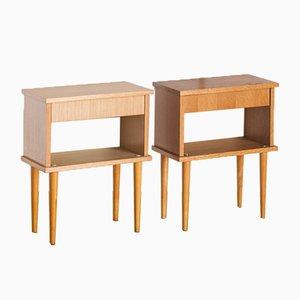 Vintage Oak Bedside Tables, Set of 2