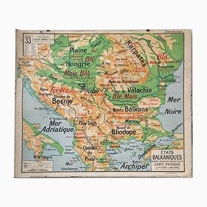 Stampa vintage della penisola balcanica di Vidal
