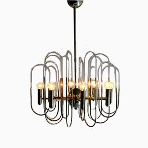 Brass and Glass Loop Chandelier by Gaetano Sciolari, 1960s