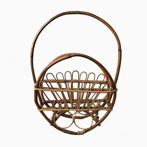 Bamboo and Rattan Magazine Rack, 1950s