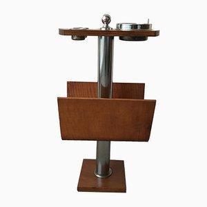 Cenicero con revistero de madera y acero cromado, años 60