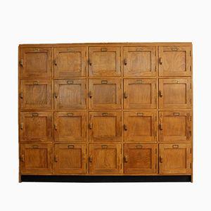 English Wooden School Lockers, 1950s