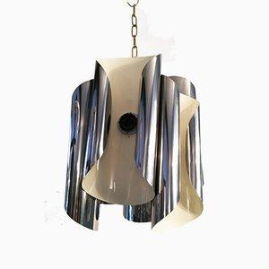 Lampada da soffitto in acciaio cromato, anni '50