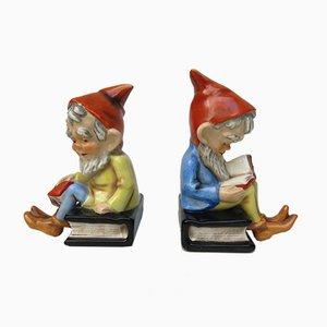 Buchstützen zweier Zwerge aus Keramik von Goebel, 1950er, 2er Set