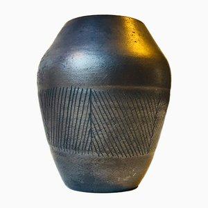 Skandinavische Keramikvase mit schwarzer Glasur, 1960er