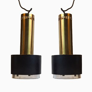 Danish Brass and Crystal Pendant Lamps by Kay Kørbing for Lyfa, 1960s, Set of 2