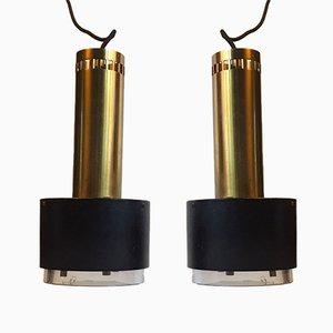 Lámparas colgantes danesas de latón y cristal de Kay Kørbing para Lyfa, años 60. Juego de 2