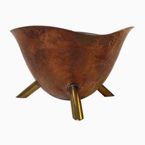 Bonbonschüssel aus Kupfer & Messing auf Dreibein, 1950er