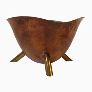 Copper and Brass Tripod Candy Bowl, 1950s