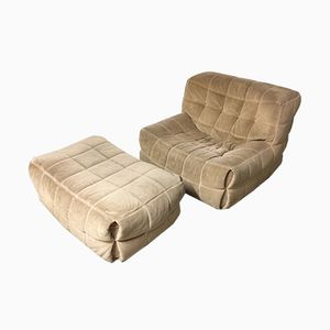 Vintage Kashima Chair & Ottoman by Michel Ducaroy for Ligne Roset