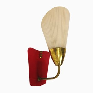 Vintage Red Sconce in Glass, 1960s