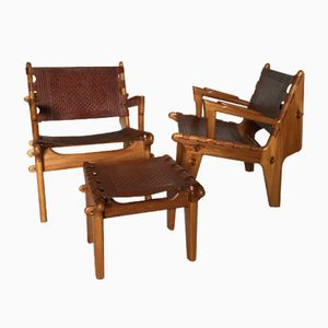 Teak and Leather Armchairs with Footstool by Angel Pazmino, 1960s, Set of 2