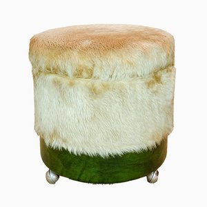 Synthetic Leather & Plush Stools, 1970s, Set of 2