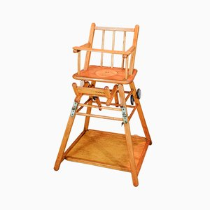 Chaise haute & Table en Bois, 1900s