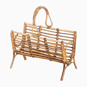 Mid-Century French Cane Magazine Rack, 1960s