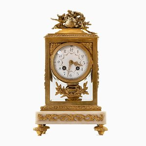 Antique French Louis XVI Gilded Bronze and Marble Mantel Clock