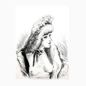 Belle Epoque Portrait Etching by André Dignimont, 1946