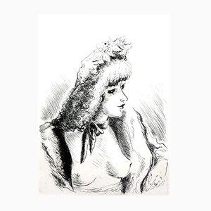 Retrato al aguafuerte Belle Epoque de André Dignimont, 1946