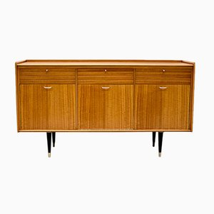 British Tiger Maple and Brass Sideboard, 1950s
