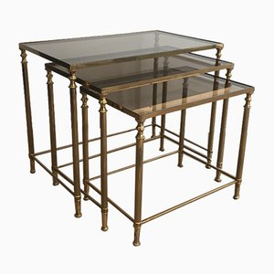 Neoclassical Brass Nesting Tables, 1940s