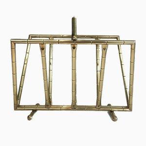 Revistero de latón en forma de bambú, años 70