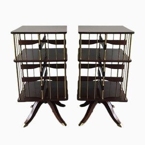 Neoclassical Mahogany and Brass Turning Bookcases, 1940s, Set of 2
