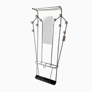 French Aluminium Hall Stand with Coat Hooks, Mirror, Hat Rack & Umbrella Tray, 1950s