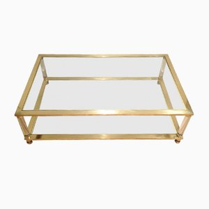 Large Lucite and Brass Coffee Table, 1970s