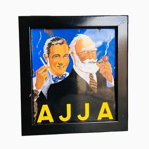 Belgian Ajja Tobacco Enamel Sign in Black Wood Frame, 1950s