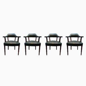 Mid-Century Stühle aus Eiche mit grünem Leder, 1950er, 4er Set