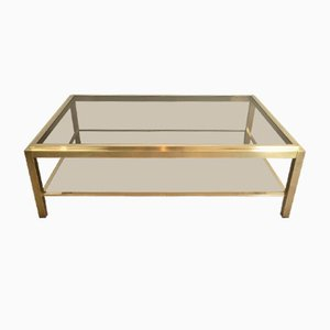 Attributed to Willy Rizzo. Large Brass Coffee Table, 1970s