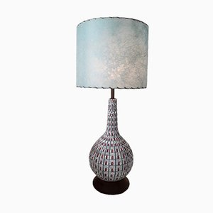 Large Mid-Century American Ceramic Lamp with Walnut Base