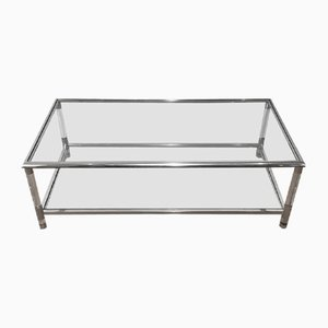 Large Lucite and Chrome Coffee Table, 1970s