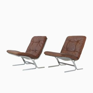 Leather & Flat Steel Armchairs, 1970s, Set of 2