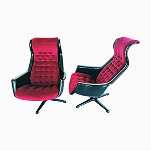 Galaxy Easy Chairs by Alf Svensson & Ingvar Sandström for DUX, 1970s, Set of 2