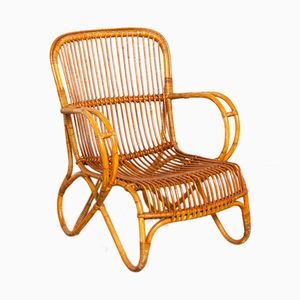 Rattan Lounge Chair by Dirk van Sliedregt for Rohé Noordwolde, 1950s