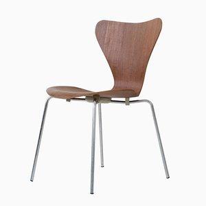 Sillas apilables modelo 3107 de teca de Arne Jacobsen para Fritz Hansen, años 60