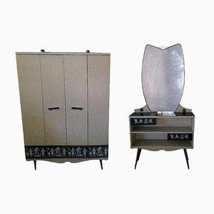 Conjunto de armario y tocador italiano vintage