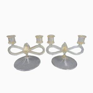 Candeleros italianos de vidrio, años 50. Juego de 2