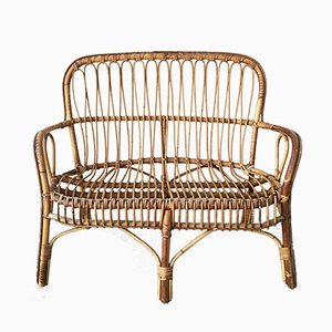 Bamboo & Rattan 2-Seater Bench, 1950s