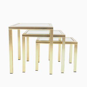 Vintage Gold Colored Aluminium Nesting Tables with Glass Top by Pierre Vandel