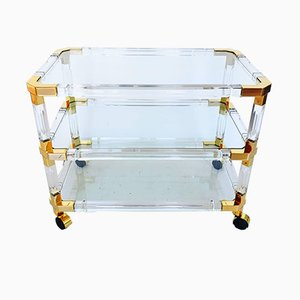 Lucite and Brass Bar Cart by Charles Hollis Jones, 1970s