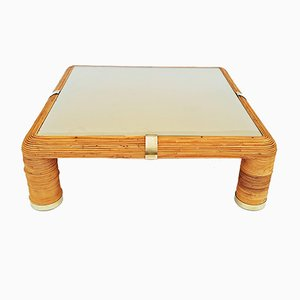 Large Bamboo Coffee Table, 1960s