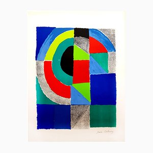 Colorful Composition Lithograph by Sonia Delaunay, 1960s