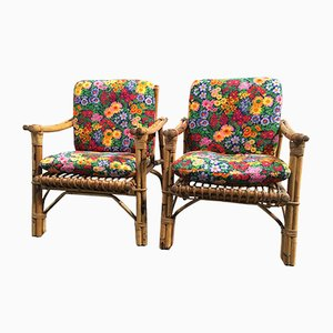 Italian Bamboo Armchairs, 1960s, Set of 2